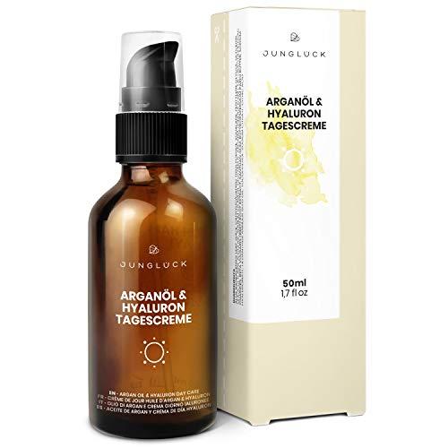 Tagescreme mit Hyaluron & Arganöl auf bio Aloe Vera Basis - vegan & in Braunglas - Anti-Aging...