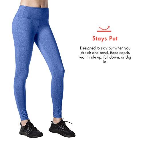 Lapasa Legging Pantalon de Sport Femme Yoga Fitness Gym Pilates Gaine large Bleu royal