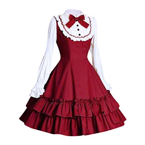 Japanische Anime Halloween Kostüm Zu - Lolita Kleid Damen Gothic Maid Kostüm Piebo Frauen Langarm Mini-Kleid Lace Up Bowknot Rüschen Mittelalter Kleider Oktoberfest Halloween Weihnachten Party Karneval Fasching Anime Cosplay Costume