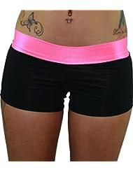Negro Spandex pantalones cortos de Dance con banda de color