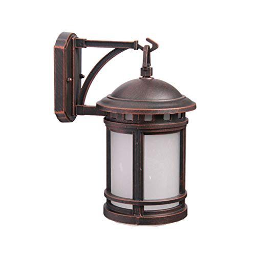 Vintage Outdoor Wall Lamp Round Industrial Down Light Black Sweeping Gold Retro Antique E27 Cast Aluminum And Glass Shade Rustic Style Wall Lights Outdoor Wall Lamp Garden Lamp B24.5 * H32cm