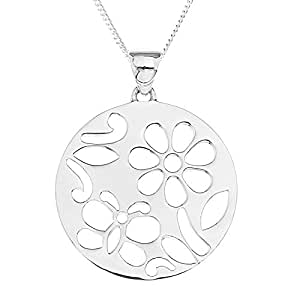 Ornami Sterling Silver Flower and Butterfly Design Round Pendant on 46cm Chain