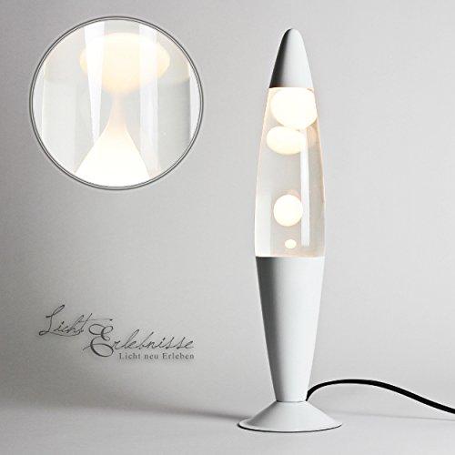 Rein Weiße Lavalampe Flüssigkeit klar H:41cm Moderne Lavaleuchte NATALIE Wohnzimmer Schlafzimmer