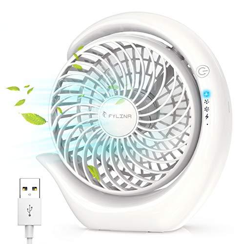 FYLINA USB Ventilator Mini Tischventilator 360°Drehbar Desktop Lüfter 3 Geschwindigkeiten Super Leise USB Fan Einfach zu Tragen für Schlafzimmer Büro zu Hause Schule Camping