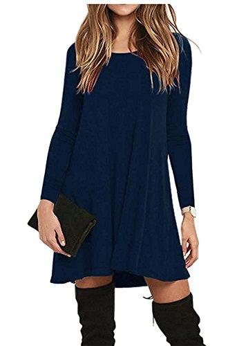 T-shirt casual da donna a girocollo a manica lunga con scollo rotondo Nascondi blu