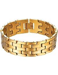 ef4ce5652405f PROSTEEL Bracelet Homme Acier Inoxydable Plaqué Or Gourmette Chaîne Lien  Large 18mm Bijoux Tendance pour Garçon Cadeau Parfait, Boîte…