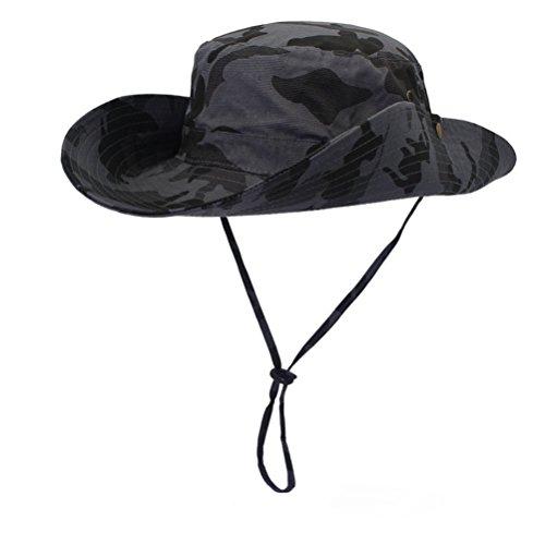 GADIEMENSS Camo Outdoor UPF 50+ Boonie Hats Summer Sun Cap Wide Brim Fishing Hat (Camouflage Deep Gray) - Gi Camo Cap