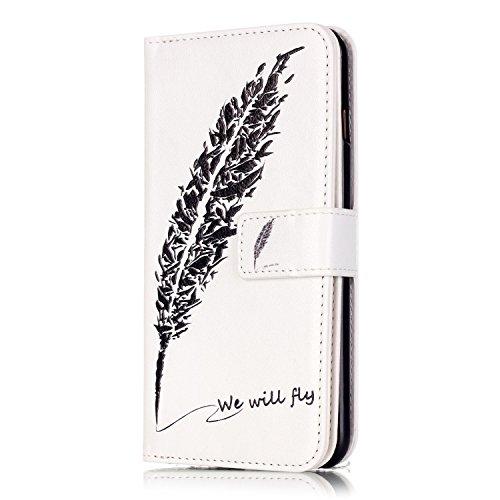 iPhone 6 Hülle,iPhone 6S Ledertasche - Felfy luxury Book Style PU Leder Brieftasche Flip Cover in Lederoptik mit Standfunktion Karteneinschub und Magnetverschluß Farbe Retro-Muster Schmetterling Leopa We Will Fly