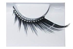 Eulenspiegel 000878 - pestañas artificiales - Negro largo con cinta de diamantes de imitación - 2 x 1 piezas