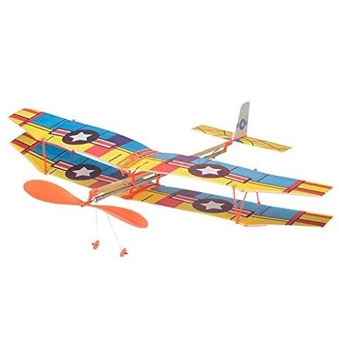 Gazechimp Kit Avion en Caoutchouc Modèle Propulsé Rubber Band Hélice Planeur Cerf-volant