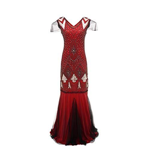 MRULIC Damen Formale Hochzeits Brautjungfern Langes Ball Abschlussball Kleid Cocktailkleid Elegantes Abendkleid (EU-36-38/CN-M, B-Rot)