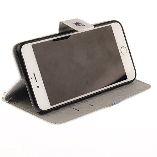 PU für Apple iPhone 6 Plus (5.5 Zoll) Hülle Case Tiere Landschaft Hülle für-Apple iPhone 6 Plus (5.5 Zoll) Leder Handyhülle Brieftasche Book Type PU Leder +TPU Innere Tasche Bunt Gemalt Magnetverschlu 10
