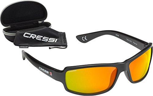 Cressi Ninja Sonnenbrillen, Unisex Erwachsene, Schwarz / Verspiegelte Gläser Orange, Einheitsgröße