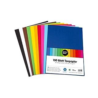 perfect ideaz 100 Blatt buntes DIN-A4 Ton-Papier, Ton-Zeichen-Papiere bunt, Set aus 10 Farben, bunte Blätter in 130g/m², Bastel-Bogen farbig, Zubehör zum Basteln, farbiges Material, DIY-Bedarf