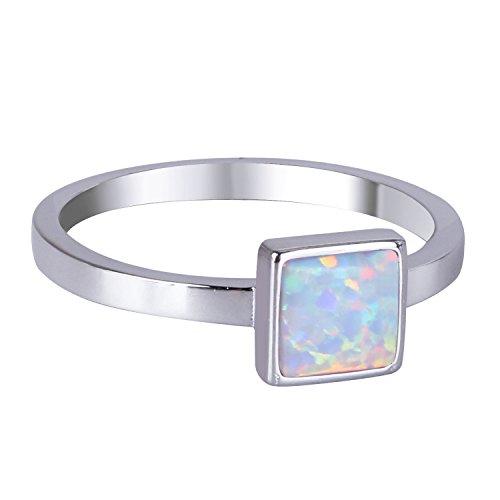 KELITCH Synthetisch Opal Ring Handmade Silver Überzogen Platz Ring Stapelringe (Weiß, 7) Synthetische Opal Verlobungsring