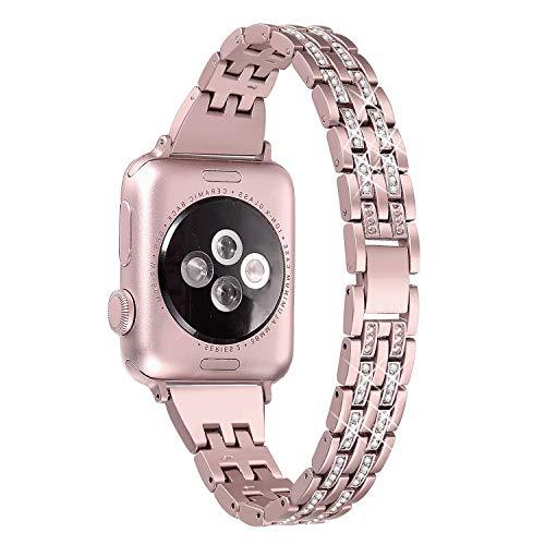 vialavida Watch Armband 42mm/44mm Iwatch Series 4 3 2 1 Damen, Diamant Strass Edelstahl Metall Ersatz Armbänder, Roségold Casual Strass