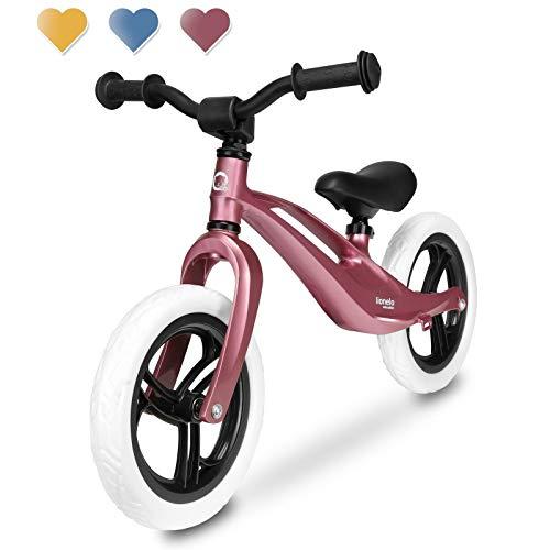 Lionelo LOE Bubblegum ionelo Bart Laufrad Balance Bike ab 18 Monaten bis zu 30 kg Magnesiumrahmen wartungsfreie 12 Zoll Eva Räder Lenkrad und Sattel höhenverstellbar Fußstütze (Rosa)