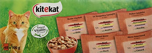 Kitekat Katzenfutter Nassfutter, Bunte Vierfalt in Sauce, 48 Portionsbeutel (48 x 100g)