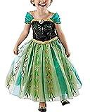 Yigoo Anna Kleid Eiskönigin Prinzessin Kostüm Kinder Glanz Kleid Mädchen Weihnachten Verkleidung Karneval Party Halloween Fest 130