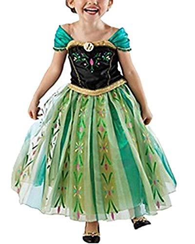 Yigoo Anna Kleid Eiskönigin Prinzessin Kostüm Kinder Glanz Kleid Mädchen Weihnachten Verkleidung Karneval Party Halloween Fest 120 (Prinzessin Anna Kostüm)
