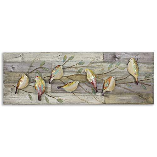 mosa design 3D Wandbild Metallbild Holzuntergrund Relief Wanddeko Natur Vögel Dekoration 40x120