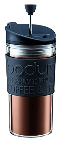 Bodum Travel Press Set Coffee Maker with Extra Lid, 0.35 L/12 oz - Black