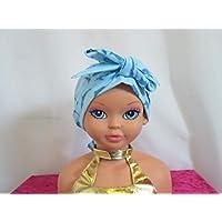 Foulard chimio enfant, turban bleu avec des dauphins bleus