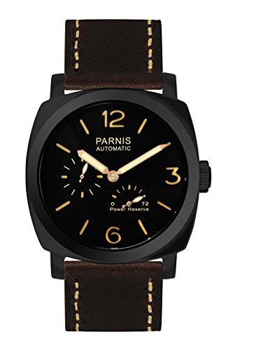 PARNIS 9075 sportliche Herren-Automatik-Uhr 47mm Herrenuhr 5BAR Wasserdicht 316L Edelstahl-Gehäuse PVD Power-Reserve Lederarmband Markenuhrwerk von Seagull Kaliber ST25