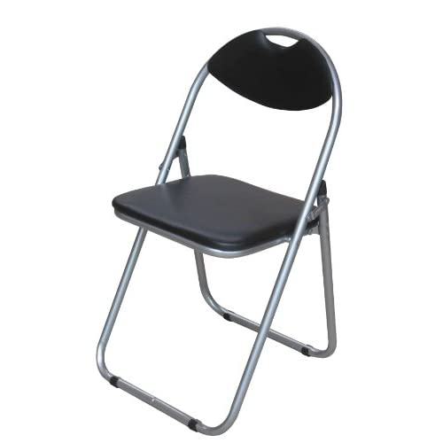 Premier Housewares Folding Chair with Leather Effect Seat and Silver Powder Coated Frame, 79 x 45 x 47 cm – Black