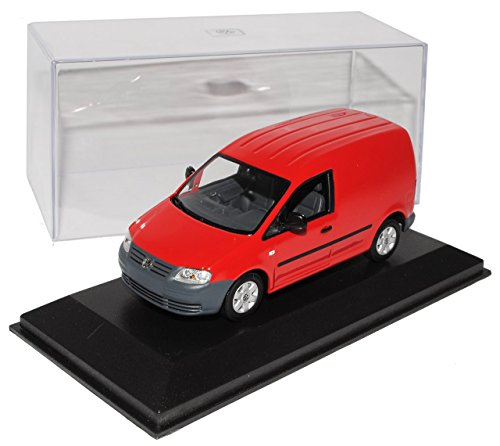 Preisvergleich Produktbild VW Volkswagen Caddy Kasten Transporter Rot 2003-2010 1/43 Minichamps Modell Auto mit individiuellem Wunschkennzeichen