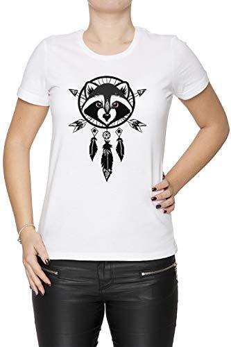 Erido Waschbär Fänger Damen T-Shirt Rundhals Weiß Kurzarm Größe L Women's White T-Shirt Large Size (Waschbär Maskottchen)