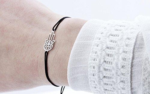 SCHOSCHON Damen Symbol Armband Fatimas Hand - Hamsa, Schwarz-Silber, 925 Silber   Schmuck Textilarmband