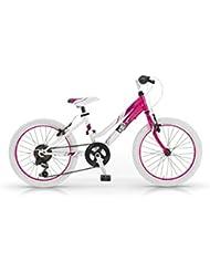 """Bicicleta Mountain Bike MBM District para niña, cuadro de acero, cambio Shimano, varios tamaños, tres colores (Blanco / Fucsia, 24"""" 36 cm)"""