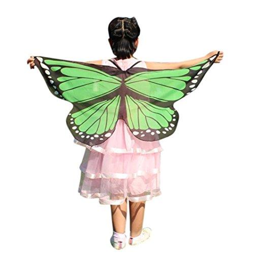 gen Mädchen 118 * 48CM Weiche Gewebe Schmetterlings Flügel Schal Feenhafte Böhmischen Schmetterling Gedruckt Schal Kostüm Zubehör Faschingskostüme Kostüm Verkleidung (Minzgrün, F) ()