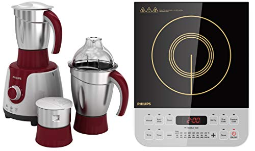 Philips HL 7720 750-Watt Mixer Grinder + Philips Viva Collection HD4928/01 2100-Watt Induction Cooktop