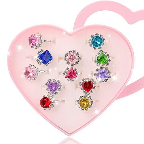 Hifot Prinzessin Schmuck Set 12 Stück, Kristall Verstellbare Ringe für Mädchen mit Herzformkasten, Girl Dress up Rings Fingerringe