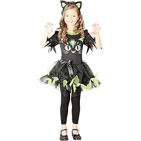 Disfraz Kitty Kyra para disfraces infantiles vestido negro–Verde Pelo maduro gato Disfraz gato