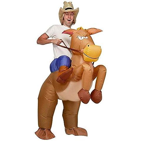 JZK® Costume hilarant pour costume adulte et adulte, cheval gonflable et costume de cow-boy, robe de fantaisie, costume de soufflage Costume de costume de costume de costume de halloween Costume de cosplay