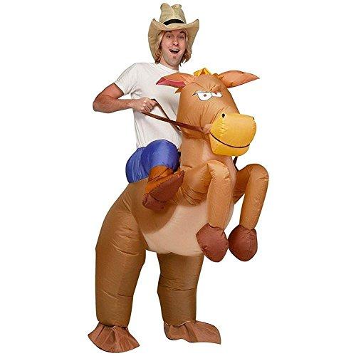 JZK® Hilarious Kostüm für jugendlich und erwachsene, aufblasbare Pferd und Cowboy Kostüm Halloween Kostüm Party Kostüm Cosplay Kostüm (Aufblasbarer Cowboy Kostüme)
