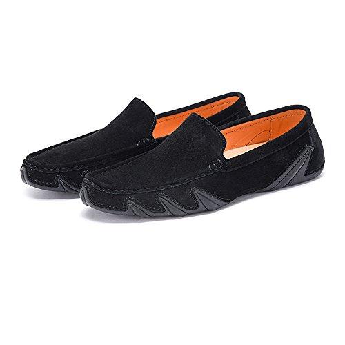 Männer Fahren Penny Mokassins echtes Leder Soft Rubber Sohle Boot Loafers (Color : Schwarz, Größe : 8 MUS)