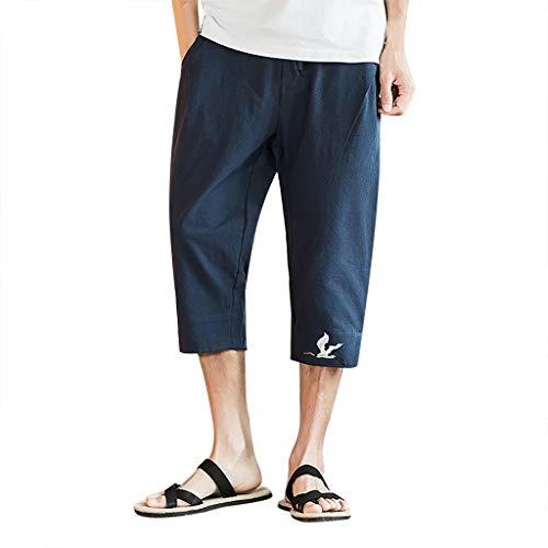 Zolimx Sommerliche Retro-Shorts für Herren aus Baumwolle und Leinen, Herren Sommer New Style Printing Freizeit Overalls Mode Multi-Pocket-Hosen -