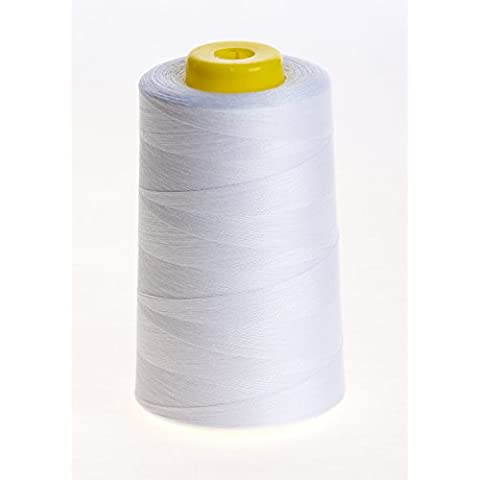 MM BRAND OVERLOCKING THREAD - OVERLOCKER THREAD - SEWING THREAD - 120s SPUN POLYESTER - 4 X 5000 YARD SPOOLS - VARIETY OF COLOURS INCLUDING BLACK, WHITE, BLUE, GREY, BROWN, YELLOW, RED, BEIGE, CREAM, GREEN, NAVY. PINK AND PURPLE (WHITE) by MM