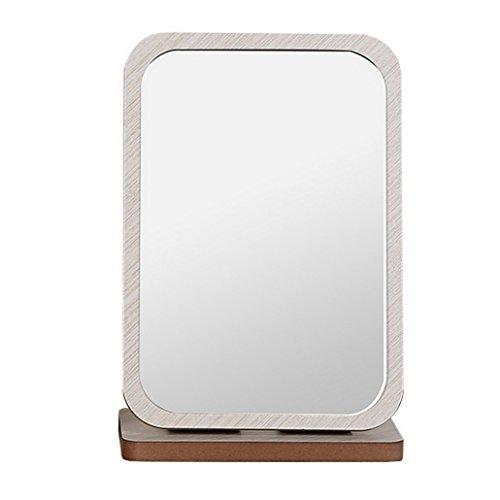 Foto de Restbuy Espejo De Sobremesa Con Espejo Espejo De Pie Con Marco De Madera Y Espejo De Piso Para Maquillaje Afeitado Gris 19 X 28 Cm
