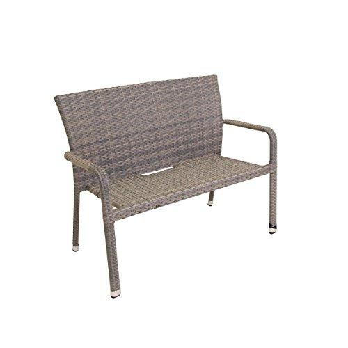 greemotion Bank Manila grau bicolor, platzsparend stapelbare 2er Bank, Gartenbank aus robstem Polyrattan, hochwertiges Aluminiumgestell, Maße: ca. 115 x 58 x 88 cm