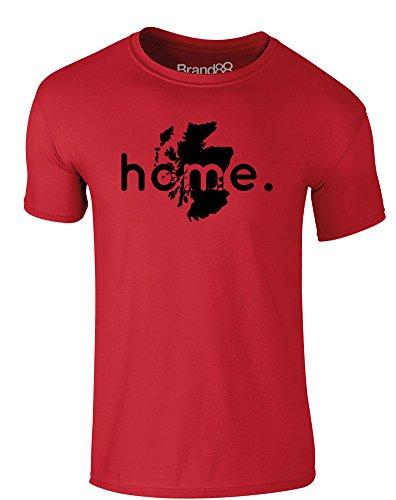 Brand88 - Home: Scotland, Erwachsene Gedrucktes T-Shirt Rote/Schwarz