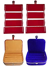 Afrose Combo 2 Pc Red Earring Folder 1 Pc Ring Box And 1 Pc Blue Ear Ring Box Jewelry Vanity Box