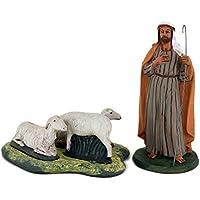 Personaggi Presepe in terracotta di Caltagirone, pastore con pecore, statuine presepe