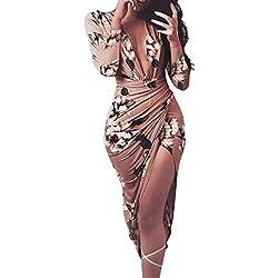 Yesmile Vestido de Mujer Vestido de Estampado Vestido Elegante de Noche para Boda Fista Vestido Ajustado de Manga Larga Floral Casual de Mujer (Café, S)