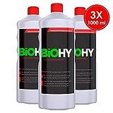 BIOHY Sanitärreiniger (3 x 1 litre) Nettoyant puissant pour salle de bain, nettoyant pour toilettes, solvant de chaux, odeur de fruits, pour faire briller les carrelages / surfaces