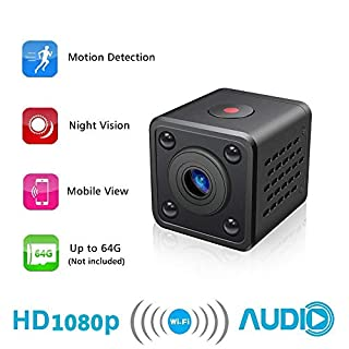 Mini Camera WiFi Hidden Camera AOBO Wireless HD 1080P Indoor Home Small Spy Cam Security Cameras/Nanny Cam Built-in Battery with Motion Detection/Night Vision